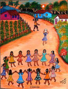 ROSANGELA BORGES TEMA CIRANDA DE RODA A VENDA COM AJUR SP - Pintura,  40x50 cm ©2010 por Arte Naif -                            Art naïf, ARTE NAIF