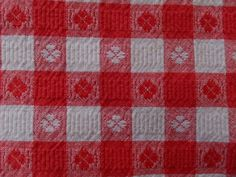 VINTAGE RED & WHITE GINGHAM COTTON TABLECLOTH
