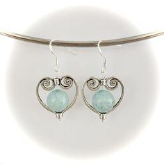 Handmade aquamarine heart pendant earrings made with sterling silver hooks Pendant Earrings, Heart Earrings, Gemstone Earrings, Drop Earrings, Handmade Silver, Handmade Items, Handmade Gifts, Hooks, Gemstones