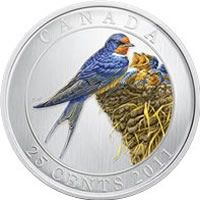 Canada 2011 Colorful Birds - Barn Swallow and Young Nestlings 25 Cents Crown-Size Colorized Quarter Specimen Tropical Birds, Exotic Birds, Colorful Birds, Canadian Gold Coins, Indian Roller, Lilac Breasted Roller, Painted Bunting, Indian Blue, Barn Swallow