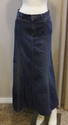 $30.00 Old Navy Denim Skirt Maxi Long 12 Medium Back Slit Blue Jean modest Gored A Line | eBay