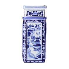 Brushstrokes depict an idealized landscape representing the harmony that the Chinese believed should exist between man and nature. This Square Vase is a prize for the Chinoiserie collector.