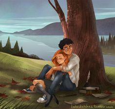 Harry Potter & Ginny Weasley and see the Lilly and James in the tree Fanart Harry Potter, Memes Do Harry Potter, Arte Do Harry Potter, Harry Potter Wizard, Harry Potter Ships, Harry Potter Drawings, Harry Potter Love, Harry Potter Universal, Harry Potter Fandom