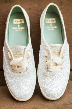 d1b87498e868 Awesome 60 Cutest Collection of Flat Wedding Shoes Kate Spade Glitter Keds