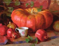Pumpkin and Pomegranates - Oil by Daniel J. Keys