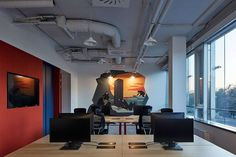 Studio Perspektiv were engaged by WebSupport to design their offices located in Bratislava, Slovakia. One of the biggest players in the Slovakian IT Office Interior Design, Office Interiors, Metal Countertops, Open Ceiling, Wood Cladding, Office Environment, Open Office, Design Firms, Home And Family