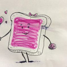 What goes great with raspberry jelly? Make sure you don't miss the doodle pair! Most of these are uploaded with another that completes the story. Jelly Bread, Complete The Story, Deli, Raspberry, Sandwiches, Lunch Box, Illustration Art, Doodles, Drawings