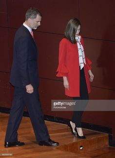 King Felipe VI of Spain (L) and Queen Letizia of Spain (R) deliver acreditations to the new Spain Brand Honorary Ambassadors at the Reina Sofia Museum on March 14, 2017 in Madrid, Spain.