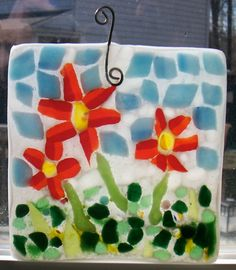 Red and Orange flower suncatcher by CrazyEyeFusedGlass on Etsy, $25.00