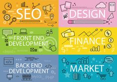 Set Banners Seo Design Finance Flat by robuart on @graphicsmag