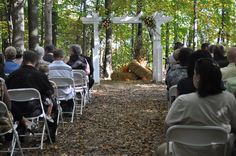 Backwoods ceremony site in woods