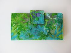 Womens Wallet, Handmade Wallet Clutch, Shades of Green and Blue Cotton Batik .