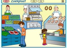 Supermarkt praatplaat Paper Doll House, Human Drawing, Picture Story, Toddler Preschool, France, Learning Spanish, Cartoon Images, Speech Therapy, Clip Art