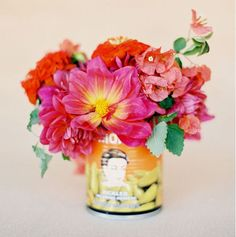 Fiesta wedding inspiration // colorful flowers, tin can