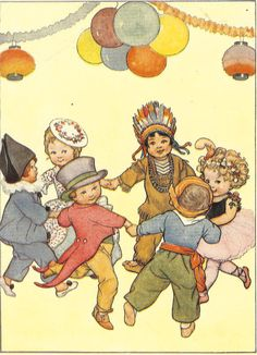 1930's Children's Print By SB Pearse Fancy Dress Party Children Holding Hands Dancing In Circle Balloons Vintage Book Illustration