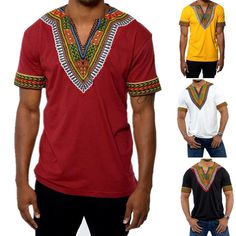 e4fc6d6e5 African Tribal Shirt Dashiki Print Mens Blue Hippie Top Blouse T-Shirt  Summer