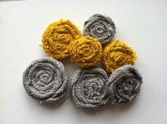 Mustard Yellow and Gray Set of 7 Burlap Flowers in Varying Sizes by redesignaccessories on Etsy https://www.etsy.com/listing/130434979/mustard-yellow-and-gray-set-of-7-burlap