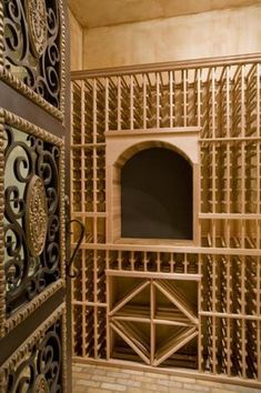 Traditional Wine Cellar with High ceiling, Brick floors