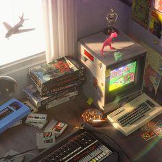 Nostalgia - Artwork / Forum Gallery - Blender Artists Community William Higinbotham developed an 80s Aesthetic, Aesthetic Vintage, Retro Art, Retro Vintage, Arcade, Retro Waves, Video Game Art, Photo Instagram, Retro Futurism