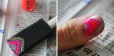 Neon Sparkle Chevron. Just paint it on to a sponge and then stamp it onto your nail. You can do this with any design.