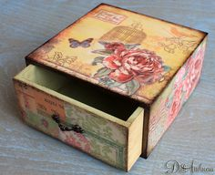 Wooden jewelry drawer decoupage drawer shabby chic by ArtDidi