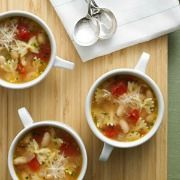 Simple and satisfying, this colorful soup contains a hearty mix of bowtie pasta, cannellini beans, onion and diced tomatoes.