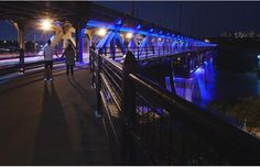 The High Level Bridge was illuminated in blue to honour slain Constable Daniel Woodall in Edmonton on Wednesday June 10, 2015.