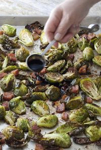 Ina Garten's Balsamic Roasted Brussels Sprouts - Improbably delicious, knowing how simple they are.