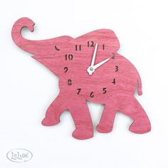 The Baby Pink Elephant designer wall mounted clock from by LeLuni