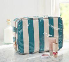 Stripe Ultimate Cosmetic Bag, Dark Peacock Blue/Gray