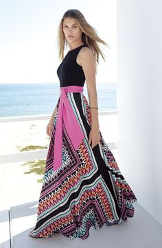 Eliza J Jersey & Crêpe de Chine Maxi Dress (Regular & Petite)