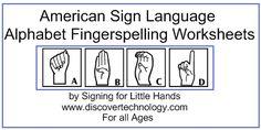 ASL Fingerspelling Worksheet - ASL American Sign Language Online Shop