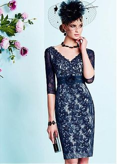 Glamorous Lace V-neck Neckline Knee-length Sheath Mother Of The Bride Dresses With Beaded Lace Appliques