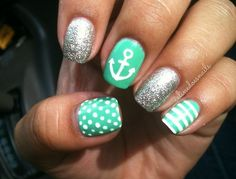 So much to love about these nails:  mint, anchor, polka dots, stripes and glitter!  #LOVE