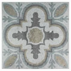 Merola Tile Llanes Perla Granada Encaustic in. Ceramic Floor and Wall Tile sq. / case), Multicolored Grey And Tan/Mixed Finish Bathroom Flooring, Kitchen Flooring, Kitchen Backsplash, Backsplash Ideas, Tile Ideas, Stone Tiles, Cement Tiles, Cement Tile Backsplash, Decorative Tile Backsplash