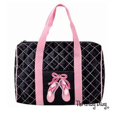 This sweet Quilted duffel bag with the toe shoe design is such a fun design.  Your dancer will love to carry her gear in this dance duffel bag.