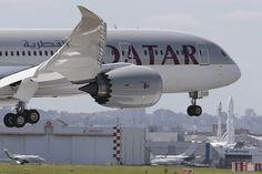 A Qatar Airways Boeing 787 Dreamliner lands at Le Bourget airport near Paris