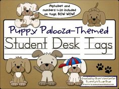 Puppies are popular with kids, and these fun student desk tags will look great in your dog themed classroom. There are five different puppy design choices with the alphabet and numbers 1-20 included on each tag for easy reference by your students.