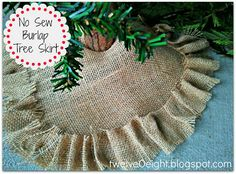 No Sew Burlap Tree Skirt #burlap #diy #decor #Christmas #tree #skirt
