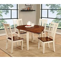 Furniture of America Betsy Jane Country Style Round Dining Table Cream Antique, Cherry Finish, White Finish