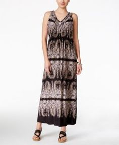 Style & Co Petite Printed V-Neck Maxi Dress, Only at Macy's - Black P/XS