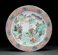 A large famille verte barbed dish, Kangxi period (1662-1722)