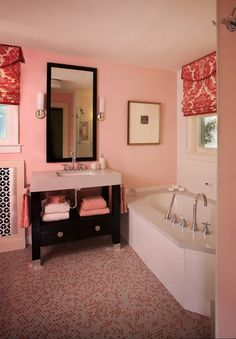 red Bathroom Decor 11 Beautiful Pink Bathroom Color Schemes To Make Your Home Pe… - Modern Teen Bathroom Decor, Cute Bathroom Ideas, Bathroom Red, Bathroom Closet, Bathroom Goals, Small Bathroom, Basement Bathroom, Decorating Bathrooms, Bath Decor