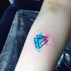 Double Geometric Triangle Watercolor Tattoo - MyBodiArt.com