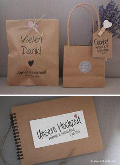Gästebuch und Geschenktüten Kraftpapier und braune Wellpappe / guest book and gift bags Kraft