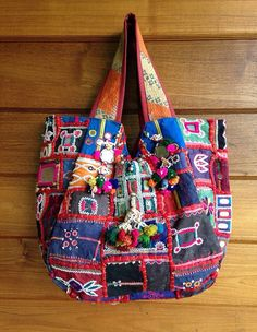 Vintage Indian Banjara Tribal Fabric Tote Bag Ethnic Kutchi mirrors handmade char