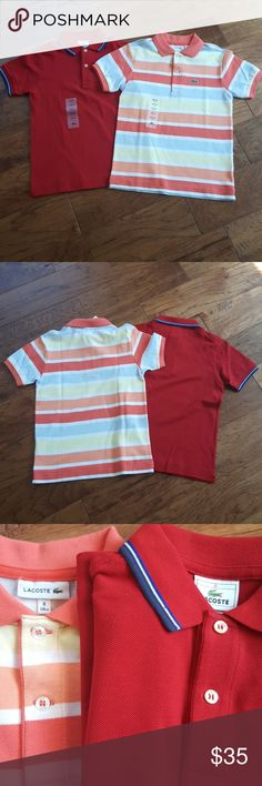 Bundle for lools4!! Youth Lacoste Polos NWT, 100% cotton, pearl buttons standard for Lacoste brand, imprint from buttons on back of shirt, can be ironed out. Listing for red and colorful shirts. Lacoste Shirts & Tops Polos