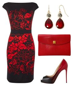 """""""Lady in red"""" by taniaisabel-1 on Polyvore featuring Christian Louboutin, Hermès and Liz Claiborne"""