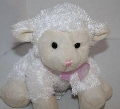 "Amscan Lamb White cream Plush stuffed animal Lavender bow small toy 7"" sheep EUC #Amscan #Easter"