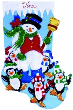Amazon.com: Tobin Penguin Party Stocking Felt Applique Kit, 16-Inch Long